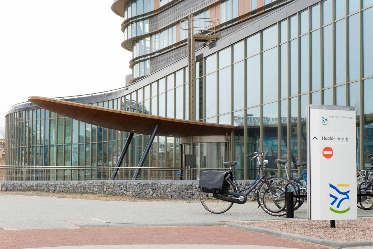 Provinciehuis Flevoland hoofdentree   Groeneveld Sign Systems