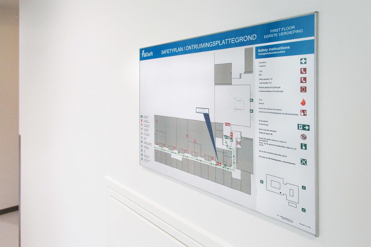 TU Delft TNW vluchtwegplattegrond   Groeneveld Sign Systems